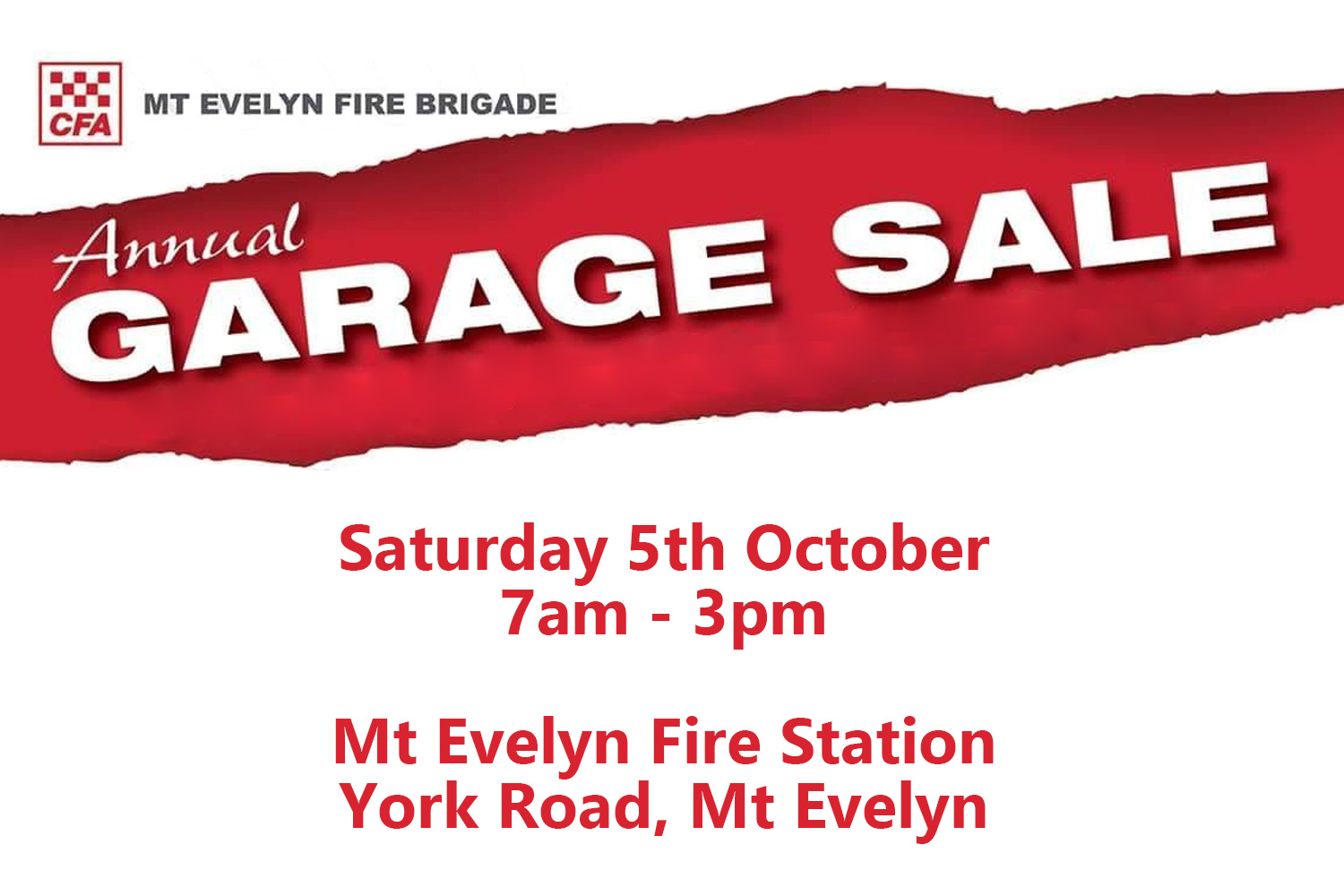 Mt Evelyn CFA Garage Sale
