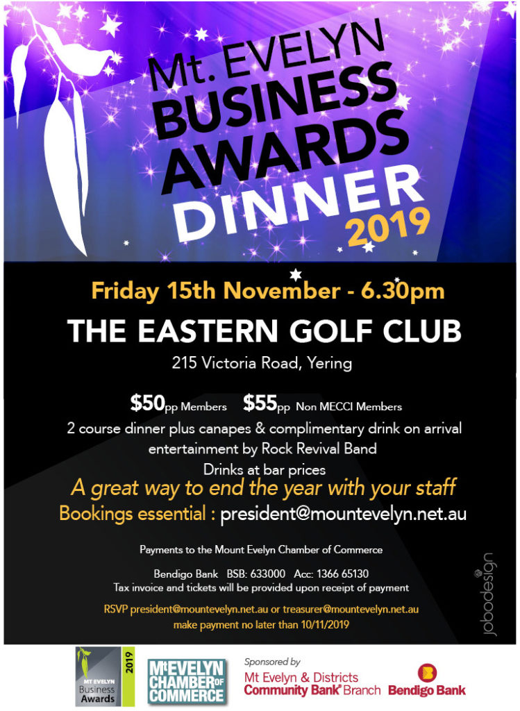 Mt Evelyn Business Awards Dinner 2019