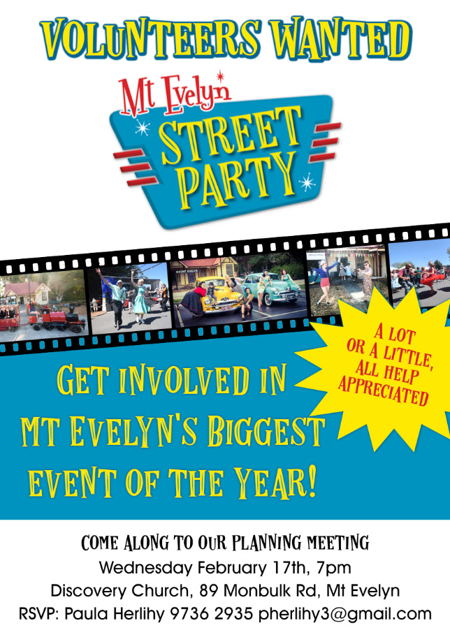 Mt Evelyn Street Party planning meeting flyer.
