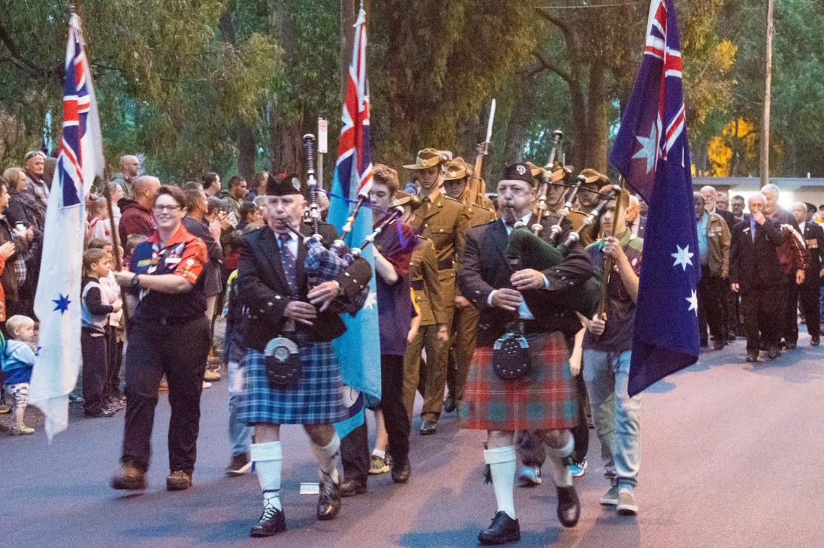 Anzac march at Mt Evelyn War Memorial. Photo by Greg Carrick